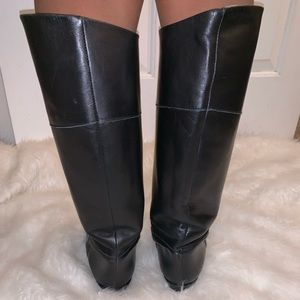 Shoes - Vintage black leather tall riding boots 9